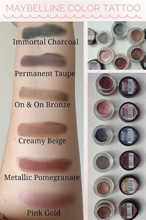 review color tattoo maybelline indonesia 101 best images about swatches on pinterest eye gel