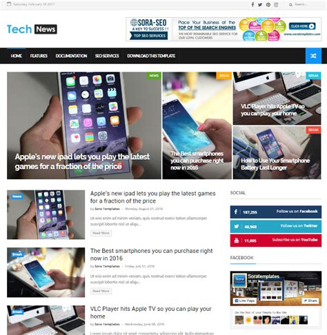 templates for google blogger tech news free seo friendly and responsive blogger
