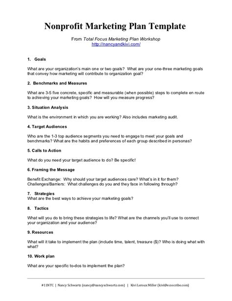 Nonprofit Marketing Plan Template Summary Marketing Procedures Template