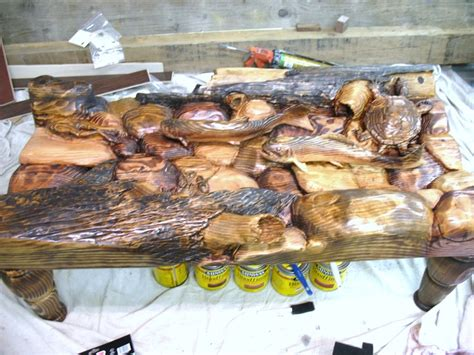 trout coffee table pine coffee table with trout frog crayfish and