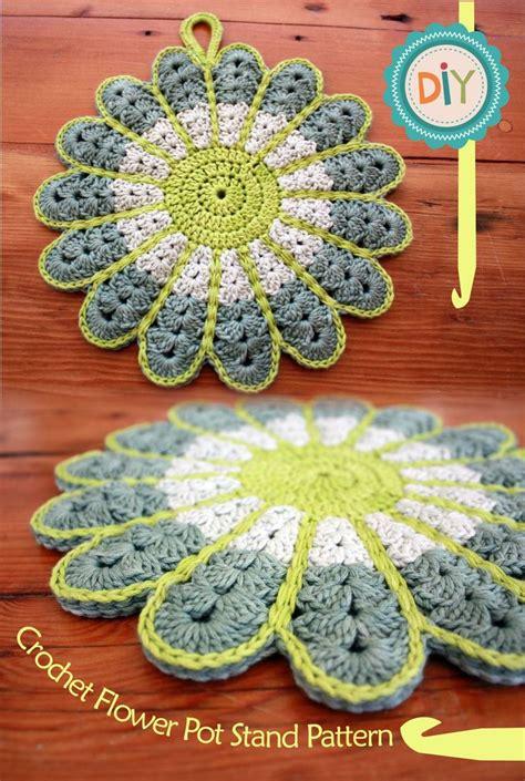 crochet pattern tutorial pinterest crochet flower potstand free pattern tutorial this rocks