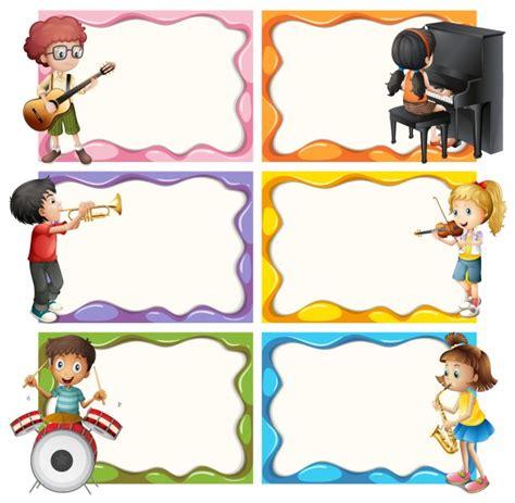 imagenes de niños jugando con instrumentos musicales plantilla de marco con los ni 241 os jugando instrumentos