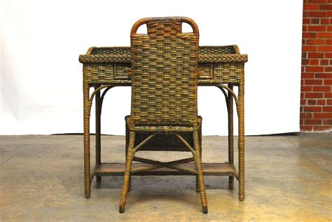 wicker desk chair wicker writing table desk and chair for sale at 1stdibs