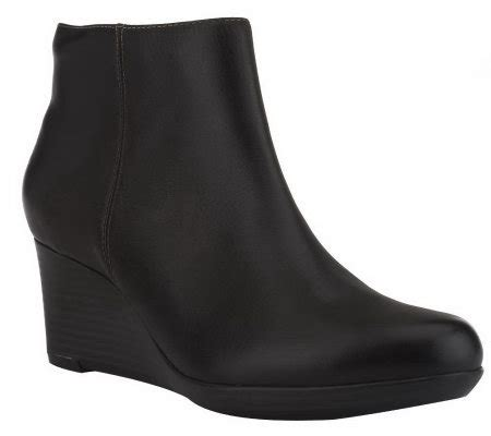 clarks bendables basil leather wedge ankle boots
