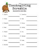 thanksgiving word scramble