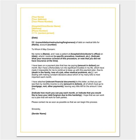 hardship letter template word doc sle