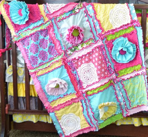 Rag Quilt Pattern Baby by Pattern Rag Quilt With Ruffle Flower For Baby Size