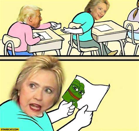 Trump Pepe Memes - donald trump gives hillary clinton pepe frog drawing meme starecat com