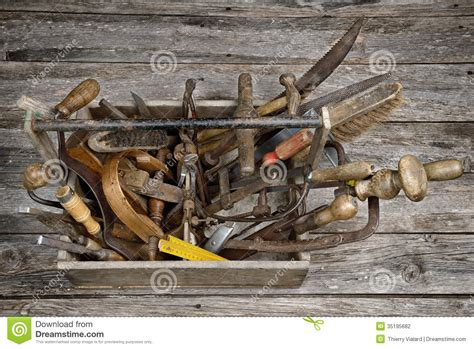 ancient woodworking tools toolbox four stock photography image 35195682