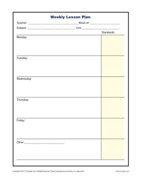 printable weekly lesson plan pages weekly lesson plan template with standards elementary