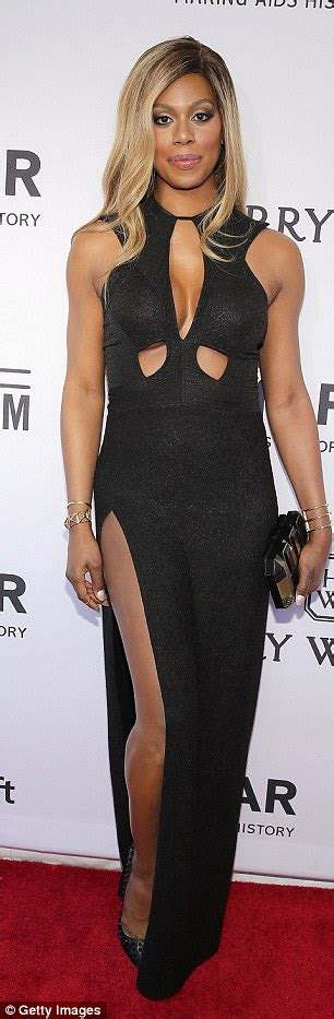 red hot definition laverne cox wows in black dress at the annual amfar