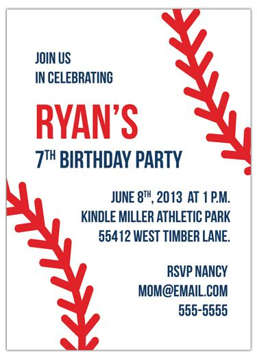 my baseball birthday invitation