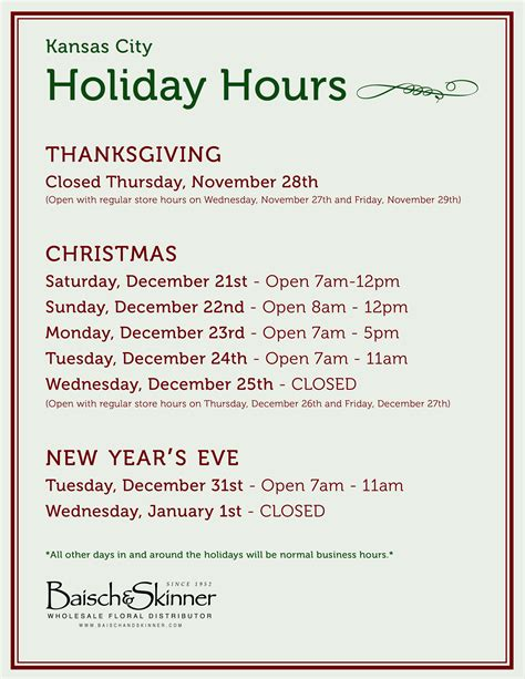 holiday hours thanksgiving christmas new years all