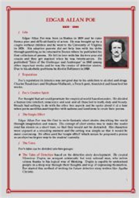 biography of edgar allan poe resumen english teaching worksheets edgar allan poe