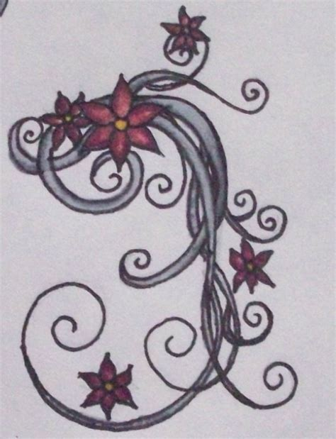flower swirls tattoo 1 by beffychan on deviantart