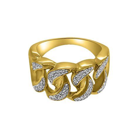 10k gold cuban link ring 27cttw diamonds 10k gold