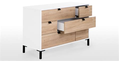 White Chest Of Drawers With Oak Top by Latymer Multi Chest Of Drawers Oak Effect And White Gloss