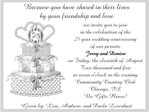 silver wedding anniversary invitation cards silver wedding anniversary invitations