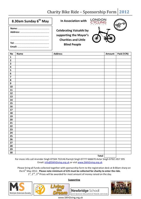 sponsored run form template charity bike ride sikhgiving org uk