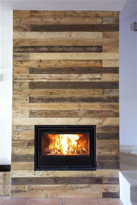 unique diy wood pallet fireplace project ideas with pallets
