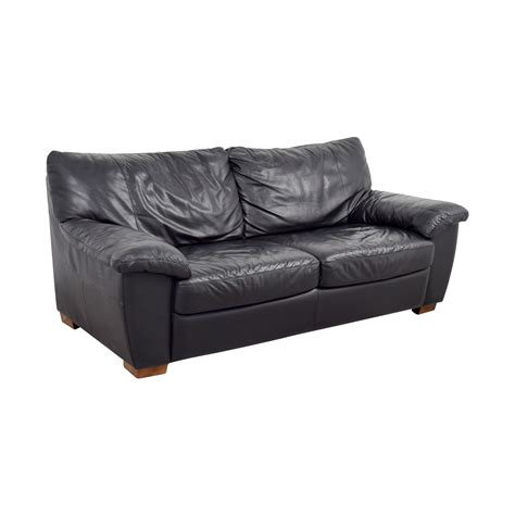 ikea black leather couch 85 off ikea ikea black leather two cushion couch sofas