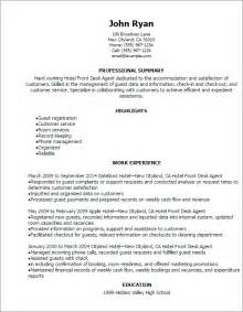 professional hotel front desk resume templates to