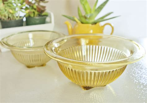 vintage glassware yellow glass ribbed bowls golden glo