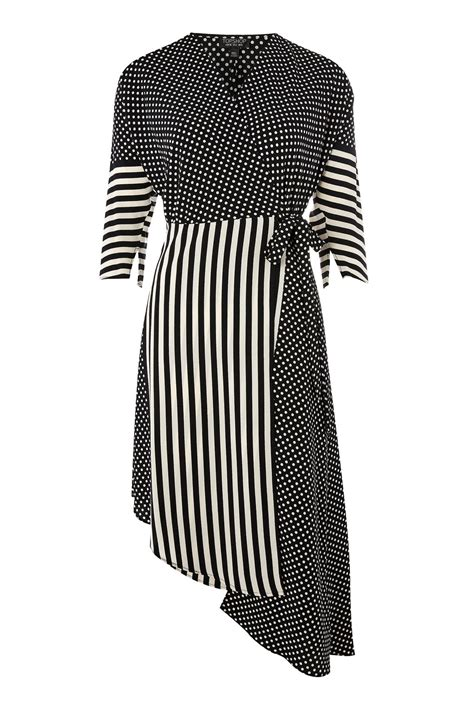 Dress Stripe spot stripe mid wrap dress topshop usa