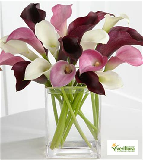 Amethyst Glass Vase Amethyst Riches Calla Lily Bouquet Vase Included