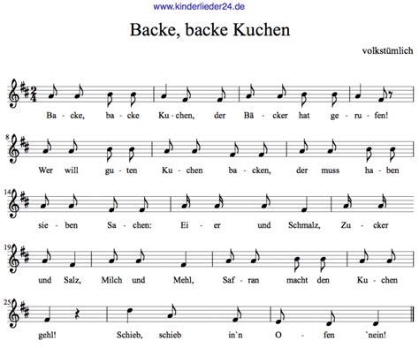 backe backe kuchen klaviernoten kinderlieder kostenlos kinderlieder f 252 r