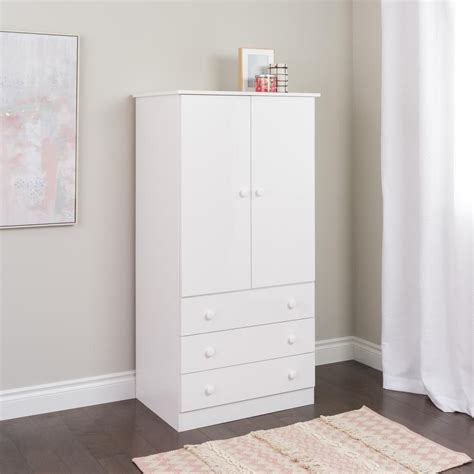 Tv Armoire Canada by Prepac White Edenvale 3 Drawer Wardrobe The Home Depot