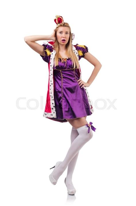 Supplier Ayodya Dres By Majesty in purple masquerade dress and crown isolated on white stock photo colourbox