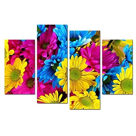 flower canvas wall colorful 4 panel wall for bedroom floral canvas painting