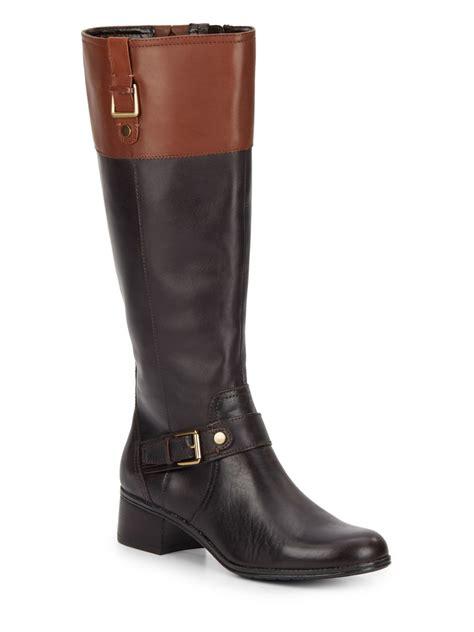 bandolino boots lyst bandolino cranne colorblock leather boots in black