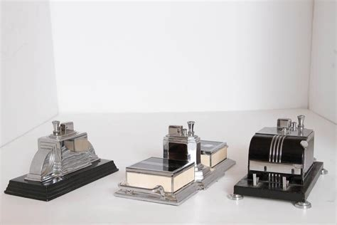 Ronson Cribs by Trio Ronson Machine Age Cigarette Box Or Lighter Combos Deco Smokerama At 1stdibs