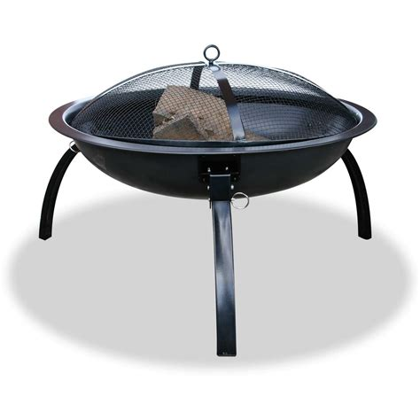 Uniflame 24 Inch Black Portable Fire Pit With Folding Legs Portable Firepits