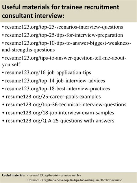 Trainee Recruitment Consultant Sle Resume by Top 8 Trainee Recruitment Consultant Resume Sles