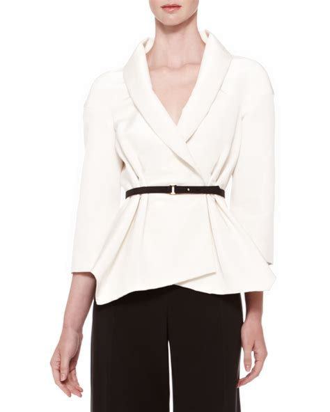 Carolina Blouse carolina herrera belted silk wrap blouse in white ivory lyst