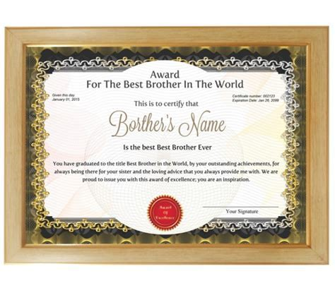 Personalized Award Certificate For Worlds Best Brother