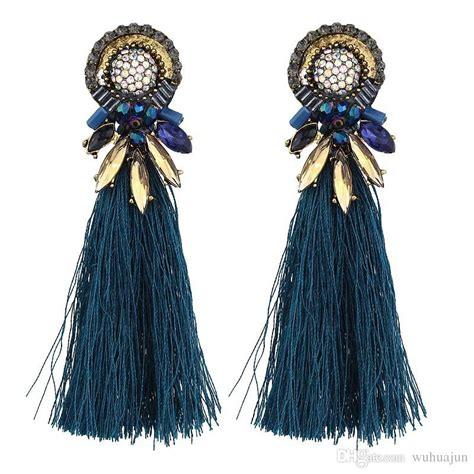 2019 2018 new design tassel big earrings fashion strass stud earrings vintage zinc