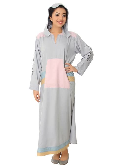 pocket setter definition club contento grey pink cotton formal abaya with kangaroo