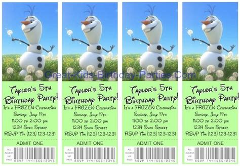 printable olaf birthday invitation template frozen invitations free printable ticket invitations easy to make in minutes see how