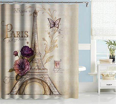 paris fabric shower curtain uphome vintage paris themed light brown eiffel tower