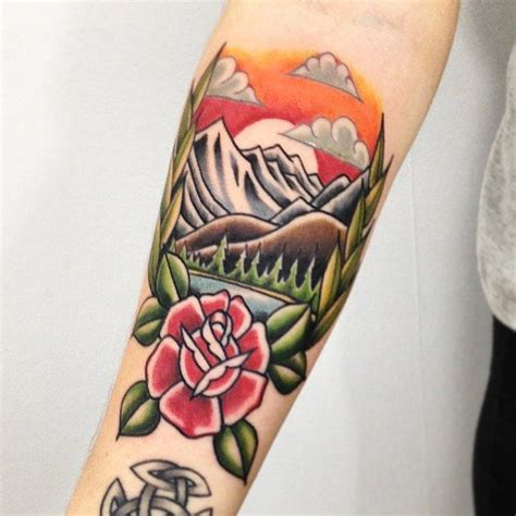 traditional mountain tattoo best 25 american traditional sleeve ideas on
