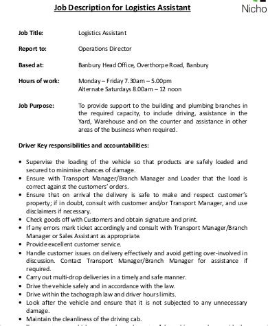 logistics assistant description sle 9 exles