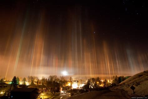 light pillars ice crystals in the air creating pillars of light over