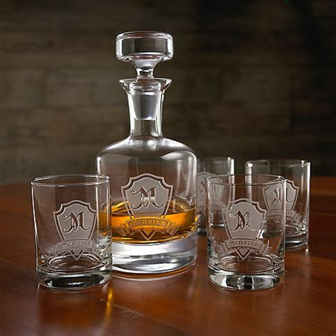 uniquie scotch christmas ideas personalized shield whiskey decanter and glasses set wine enthusiast