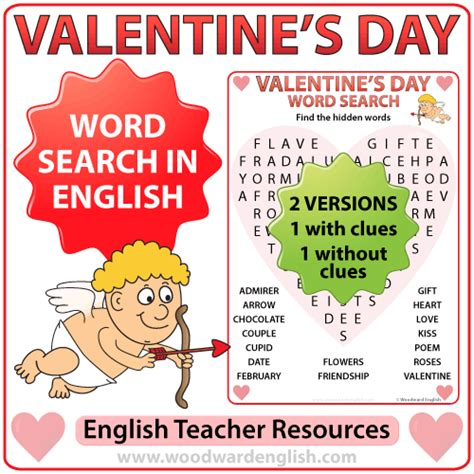 s day song esl valentine s day word search in