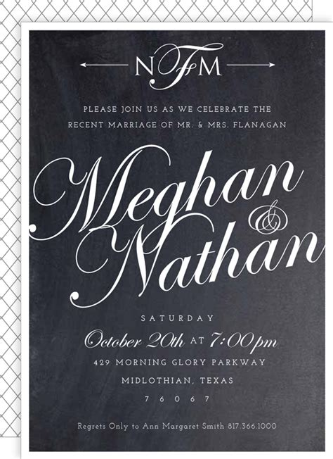 Wedding Announcement Script by Post Wedding Reception Invite Chalkboard Script From