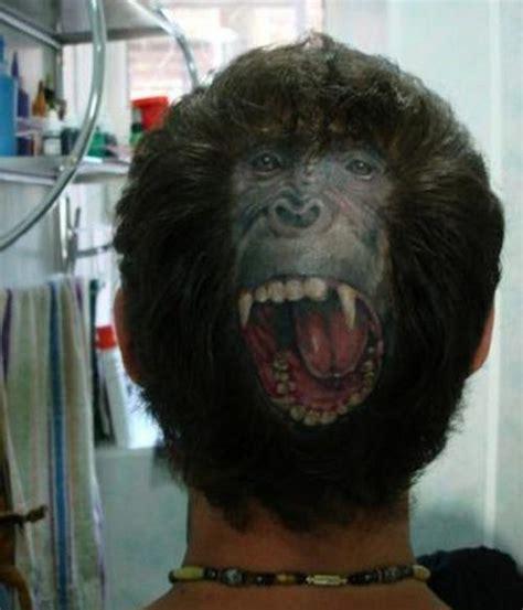 male pattern baldness tattoo angry monkey scalp tattoo boing boing